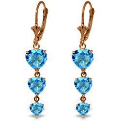 Genuine 6 ctw Blue Topaz Earrings Jewelry 14KT Rose Gold - REF-66F9Z
