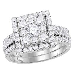 1.95 CTW Diamond Square Cluster Bridal Engagement Ring 14KT White Gold - REF-254H9M