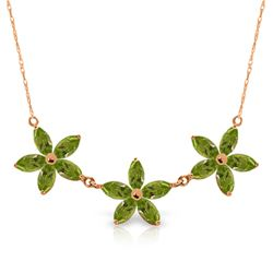 Genuine 4.2 ctw Peridot Necklace Jewelry 14KT Rose Gold - REF-60F7Z