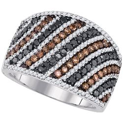 1.56 CTW Black Cognac-brown Color Diamond Ring 10KT White Gold - REF-67H4M