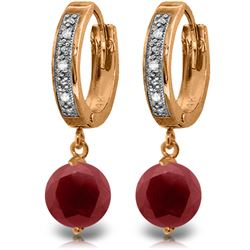 Genuine 4.03 ctw Ruby & Diamond Earrings Jewelry 14KT Rose Gold - REF-76N6R