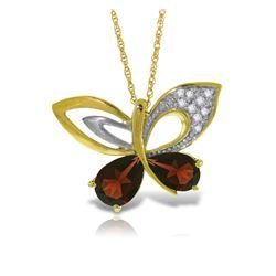 Genuine 3.68 ctw Garnet & Diamond Necklace Jewelry 14KT Yellow Gold - REF-113P9H