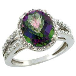 Natural 3.47 ctw Mystic-topaz & Diamond Engagement Ring 14K White Gold - REF-46N3G