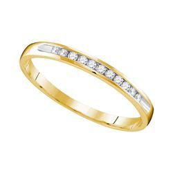 0.11 CTW Diamond Wedding Anniversary Ring 10KT Yellow Gold - REF-14N9F