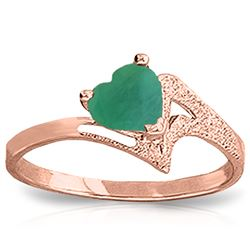 Genuine 1 ctw Emerald Ring Jewelry 14KT Rose Gold - REF-43A2K