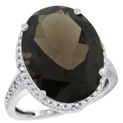 Natural 13.6 ctw Smoky-topaz & Diamond Engagement Ring 14K White Gold - REF-75X6A