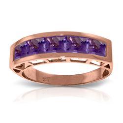 Genuine 2.25 ctw Amethyst Ring Jewelry 14KT Rose Gold - REF-54Z2N