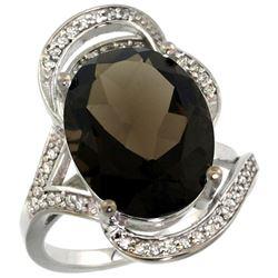 Natural 11.23 ctw smoky-topaz & Diamond Engagement Ring 14K White Gold - REF-104F5N
