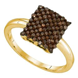 0.50 CTW Cognac-brown Color Diamond Rectangle Cluster Ring 10KT Yellow Gold - REF-19F4N