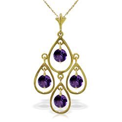 Genuine 1.20 ctw Amethyst Necklace Jewelry 14KT Yellow Gold - REF-30R7P