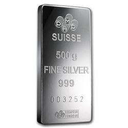Genuine 500 gram Fine Silver Bar - PAMP Suisse Fortuna