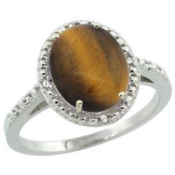 Natural 2.32 ctw Tiger-eye & Diamond Engagement Ring 14K White Gold - REF-32W4K