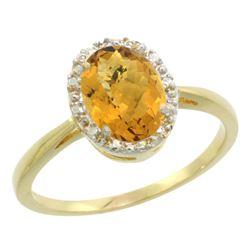 Natural 1.22 ctw Whisky-quartz & Diamond Engagement Ring 10K Yellow Gold - REF-19G9M