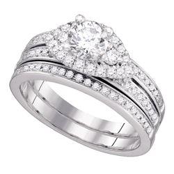 1 CTW Diamond Bridal Wedding Engagement Ring 14KT White Gold - REF-240W2K