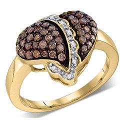 0.59 CTW Cognac-brown Color Diamond Heart Love Ring 10KT Yellow Gold - REF-41W9K