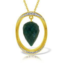 Genuine 13.1 ctw Sapphire & Diamond Necklace Jewelry 14KT Yellow Gold - REF-122P8H