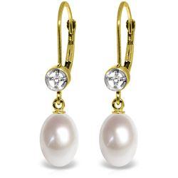 Genuine 8.03 ctw Pearl & Diamond Earrings Jewelry 14KT Yellow Gold - REF-25T9A