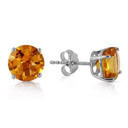 Genuine 3.1 ctw Citrine Earrings Jewelry 14KT White Gold - REF-23Y9F