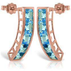 Genuine 4.5 ctw Blue Topaz Earrings Jewelry 14KT Rose Gold - REF-38Z5N