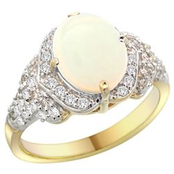 Natural 1.93 ctw opal & Diamond Engagement Ring 14K Yellow Gold - REF-101X9A