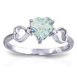 Genuine 0.96 ctw Aquamarine & Diamond Ring Jewelry 14KT White Gold - REF-44X3M