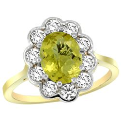 Natural 2.34 ctw Lemon-quartz & Diamond Engagement Ring 14K Yellow Gold - REF-80Z8Y