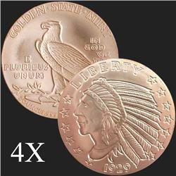 2 oz Incuse Indian .999 Fine Copper Bullion Round