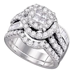 1.76 CTW Princess Diamond Soleil Bridal Engagement Ring 14KT White Gold - REF-179X9Y
