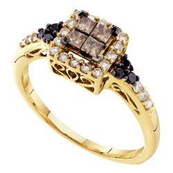 0.50 CTW Princess Cognac-brown Color Diamond Cluster Ring 14KT Yellow Gold - REF-41F9N
