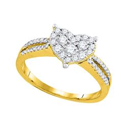 0.50 CTW Diamond Heart Split-shank Ring 14KT Yellow Gold - REF-64H4M