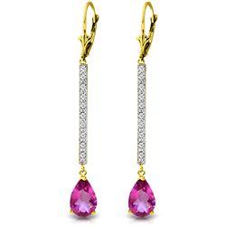 Genuine 3.6 ctw Pink Topaz & Diamond Earrings Jewelry 14KT White Gold - REF-61Y5F