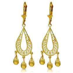 Genuine 3.75 ctw Citrine Earrings Jewelry 14KT Yellow Gold - REF-46K5V