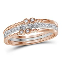 0.14 CTW Diamond Milgrain Stackable 3-Piece Ring 10KT Two-tone Gold - REF-26X9Y
