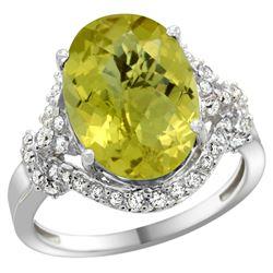 Natural 5.89 ctw lemon-quartz & Diamond Engagement Ring 14K White Gold - REF-86Y5X