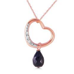 Genuine 3.33 ctw Sapphire & Diamond Necklace Jewelry 14KT Rose Gold - REF-46V2W