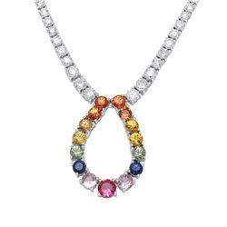 10.13 CTW Multi-Color Sapphire & Diamond Necklace 18K White Gold - REF-498R7K