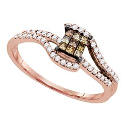 0.34 CTW Princess Brown Color Diamond Fashion Ring 10KT Rose Gold - REF-26H3M