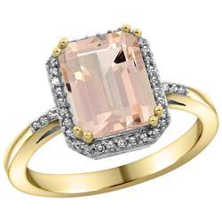 Natural 2.63 ctw Morganite & Diamond Engagement Ring 14K Yellow Gold - REF-60G3M