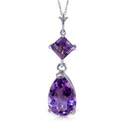 Genuine 2 ctw Amethyst Necklace Jewelry 14KT White Gold - REF-24H3X