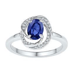 0.07 CTW Oval Created Blue Sapphire Solitaire Diamond Ring 10KT White Gold - REF-14W9K