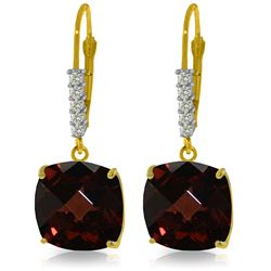 Genuine 9 ctw Garnet & Diamond Earrings Jewelry 14KT Yellow Gold - REF-59M3T