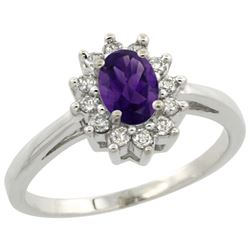 Natural 0.67 ctw Amethyst & Diamond Engagement Ring 14K White Gold - REF-48H6W