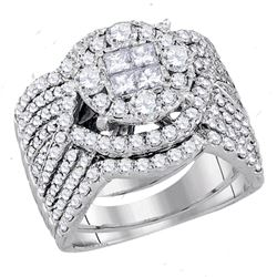 2.52 CTW Princess Diamond Soleil Bridal Engagement Ring 14KT White Gold - REF-269F9N
