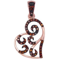 0.15 CTW Red Color Diamond Heart Love Pendant 10KT Rose Gold - REF-16H4M