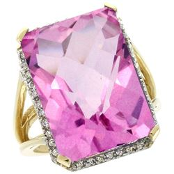 Natural 15.06 ctw Pink-topaz & Diamond Engagement Ring 14K Yellow Gold - REF-81Y9X