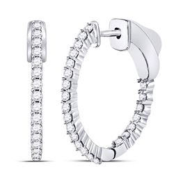 0.53 CTW Diamond Single Row Hoop Earrings 10KT White Gold - REF-41M3H