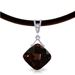 Genuine 8.76 ctw Garnet & Diamond Necklace Jewelry 14KT White Gold - REF-46Y2F