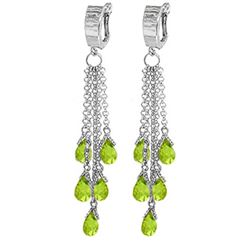 Genuine 7.3 ctw Peridot Earrings Jewelry 14KT White Gold - REF-62Z3N