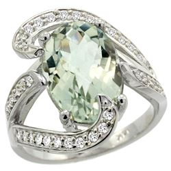 Natural 6.22 ctw green-amethyst & Diamond Engagement Ring 14K White Gold - REF-134G9M