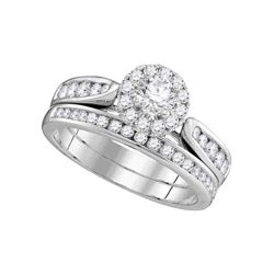 1 CTW Diamond Halo Bridal Engagement Ring 14KT White Gold - REF-142F4N